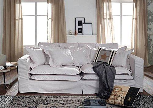 MASSIVMOEBEL24.DE Sofa XXXL Hussensofa Hampton Bezug weiß Big Sofa ...