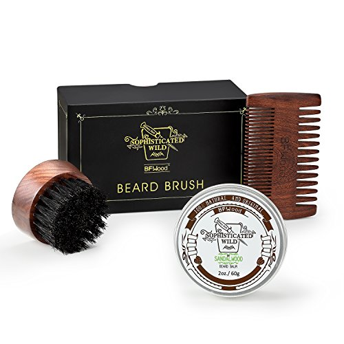 Price comparison product image BFWood Beard Kit for Men – Small Travel Beard Brush Boar Bristle + Solid Ebony Wood Beard Comb + Beard Balm 60g Sandalwood Scent