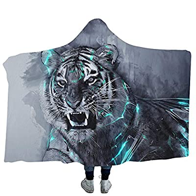 YJZ Halloween Decor 3D Hooded Blanket DIY Customization Modern Pattern Throw Blanket Cozy Flannel Cloak Quilt Coat Bathrobe Home Travel, Tiger Pattern