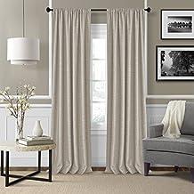 "Elrene Home Fashions 026865876147 Rod Pocket Textured Solid Window Curtain Drape Panel, Set of 2, 52"" X 95"", Linen"