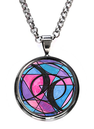 Artisan Courtyard Bisexual Love Gunmetal Pendant with Chain Necklace