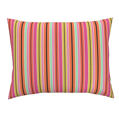 (Roostery Neon Colored Stripe Euro Knife Edge Pillow Sham Bright Stripes Pink and Blue Stripe Colorful Bright Neon Pink by Liagriffith 100% Cotton Sateen)