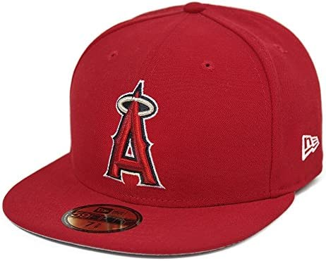 92fdeb94 Amazon.com : New Era Los Angeles Angels of Anaheim MLB Team Patch On Field  Game 59FIFTY Cap Red Size 7 5/8 : Sports & Outdoors