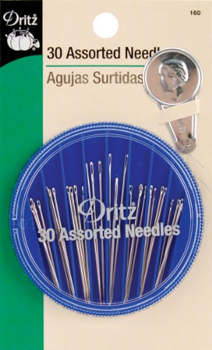 Dritz 160 Hand Needle Compact & Needle Threader, Assorted Sizes & Styles (30-Count)