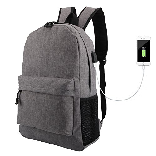 Antot Travel Laptop Backpack, Large Backpack Fits 17'' Laptop, College School Bag, Laptop Bag, Light Weight Backpack with USB, Business Computer Bag, Smart Slim Backpack for MacBook Men Women-Grey by Antot