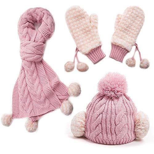 Intrecciata Donna Pink Addensare colore Kit Da Set Guanti Moda 3 Caldo Lana Cappello Pezzi Pink Invernale Sciarpa Berretto Selvaggia TqwHxSvvE