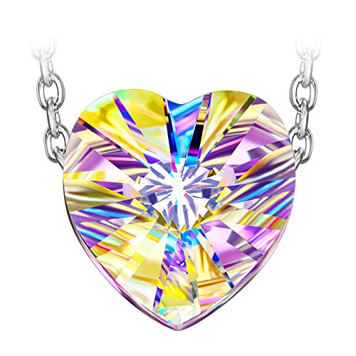 Susan Y ♥Aurora♥ 925 Sterling Silver Aurora Borealis Heart Necklace with Swarovski Crystal ★Best Choice for Mother's Day !