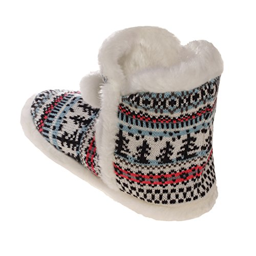 Emmalise Womens Slipper Boots Indoor Lounge Bontschoenen Bont Boots Voor Dames Front Pompom White / Baby Blue / Neon Pink