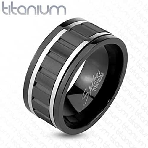 TTNR-0131 Solid Titanium Wavy Black IP Spinner Ring with Steel Lines Ring