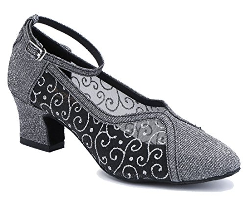Tda Confort Des Femmes Fermé Orteil Talon Talon Mesh Synthétique Tango Salle De Bal Chaussures De Danse Latine Moderne Gris-5cm Talon