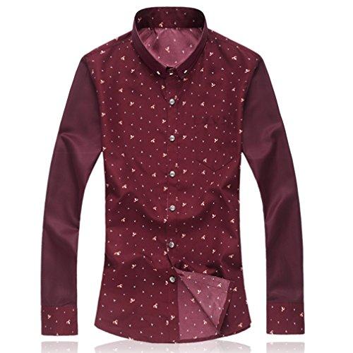 Honghu Casual Ocio Regular Fit Stretch Clásico Cuello Camisa de Manga Larga Para Hombre Rojo