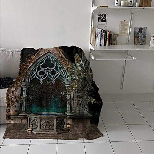 maisi Gothic Throw Blanket Mystical Patio with Enchanted Wishing Well Ivy on Antique Gateway to Magical Forest Velvet Plush Throw Blanket 60x36 Inch Grey Teal