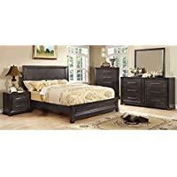 247SHOPATHOME Idf-7780CK-6PC Bedroom-Furniture-Sets, California King, Dark Gray