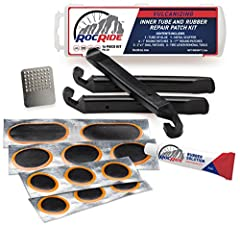 Why Purchase the All New RocRide Inner Tube Patch Bicycle Repair Kit?  It's the #1 Strongest Vulcanizing Patch Repair Kit on the Market. 16 Pieces High Quality Kit All the patches are stronger than your original rubber material being repaired...