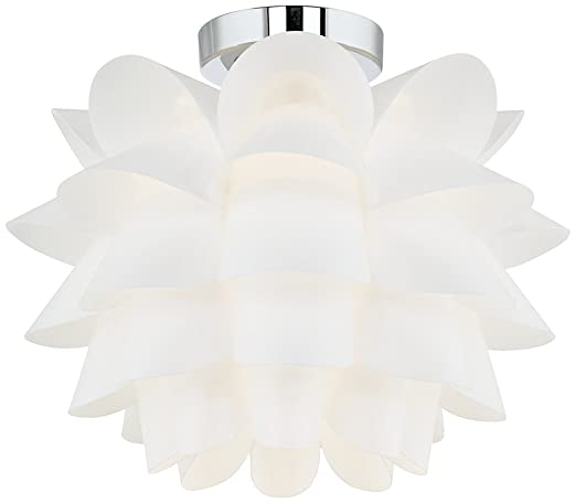 Possini Euro Design White Flower 15 34 Wide Ceiling Light