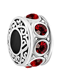 LovelyJewelry Filigree Charm Jan-Dec Birthstone Spacer Beads Sale Cheap Jewelry Fit Pandora Charms Bracelet