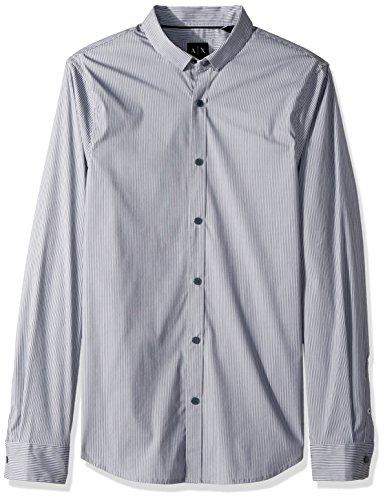 - A|X Armani Exchange Men's Long Sleeve Stripe Shirt, White/Turbo, M