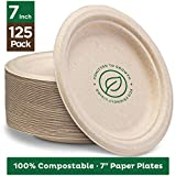 Stack Man - Platos de papel compostables (17,8 cm, 125 unidades), color natural