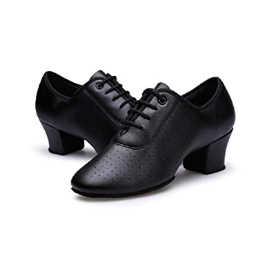 Gogodance Women Girls Professional Lace-up Black Leather Latin Salsa Tango Ballroom Modern Dance Shoes | Pumps