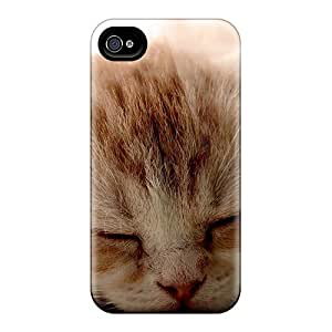 New Shockproof Protection Case Cover For Iphone 4/4s/ Red Kitten Sleeping Case Cover