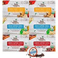 Super Organics Coffee Variety Pack Enhanced with Superfoods & Probiotics | Keurig K-Cup Compatible | Cardio Support Coffee, Focus Coffee, Energy Coffee | USDA Certified Organic, Vegan, Non-GMO, 72ct
