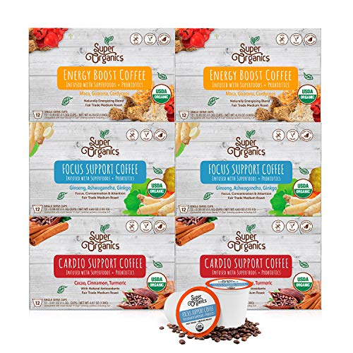 Kitchen & Housewares : Super Organics Coffee Variety Pack Enhanced with Superfoods & Probiotics | Keurig K-Cup Compatible | Cardio Support Coffee, Focus Coffee, Energy Coffee | USDA Certified Organic, Vegan, Non-GMO, 72ct