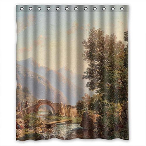 MaSoyy Width X Height / 60 X 72 Inches / W H 150 By 180 Cm Polyester Beautiful Scenery Landscape Painting Bath Curtains Fabric Is Fit For Mother Her Girls Custom Hotel. Easy Care (Halloween Ideas For Bald Guys)