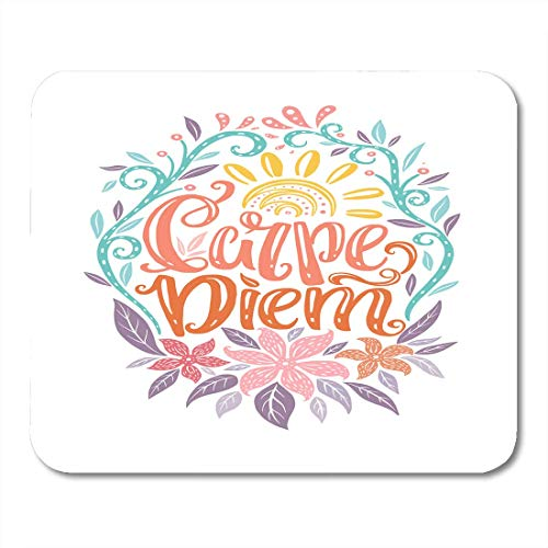 Guang Mouse Pads Carpe Diem Lettering Seize The Day Unique Creative Typographic Tattoo Popular Latin Phrase Mousepad for Laptop,Desktop Computers Office Supplies Mouse Mats