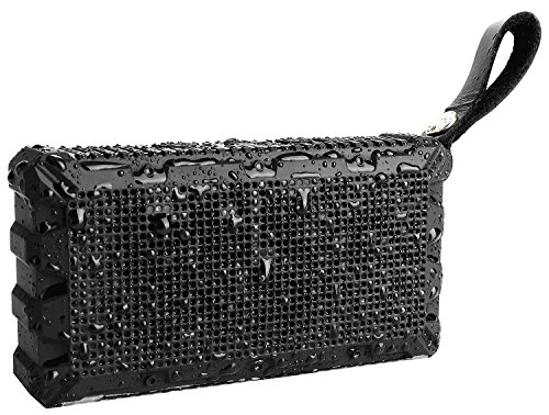 BassPal Outdoor Waterproof Bluetooth Speakers 4.1, Pocket Size Ultra Portable Wireless Speaker with Louder Crystal Clear Sound, IPX7 Waterproof for Outdoor Sport Travel Hiking Shower Beach - BLACK