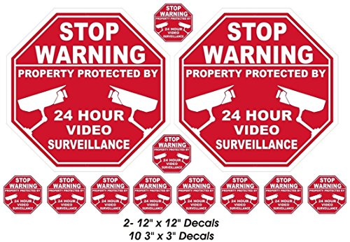 12 Pcs Unblemished Popular Stop Warning Property Protected by Video Stickers Sign Home Decal Security Surveillance 2-Large - Price Oakley Sunglasses