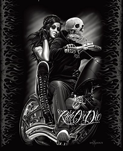 DGA Ride or Die Motorcycle Biker Babe Queen Size Luxury Royal Plush Blanket (Marilyn Monroe Queen Size Bed Set)