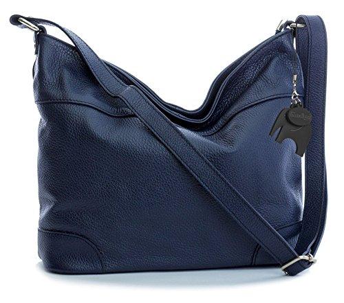 Big Handbag Shop - Bolso de tela de piel auténtica para mujer Talla única azul marino