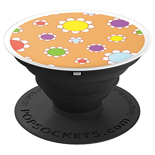 Daisy Flower Vintage Colored Floral Wallpaper Pattern - PopSockets Grip and Stand for Phones and Tablets ()