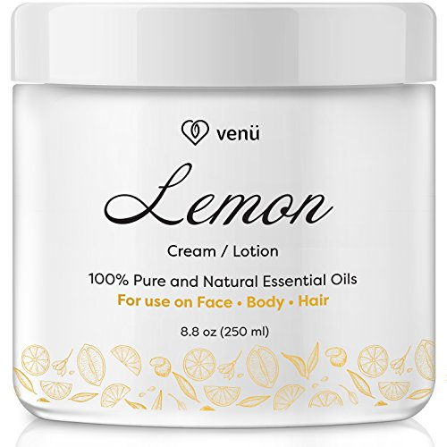 Lemon Essential Oil Lotion – Daily Moisturizing Cream for Face, Body and Hair – All Natural – Nourishing, Calming, Anti-Fungal Detox For All Skin Types – by Venu (Antifungal Creme)