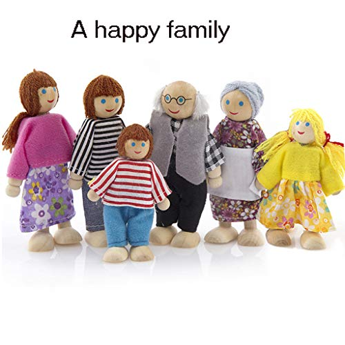 (Lywey 6PCS Wooden Furniture Dolls House Family Miniature Set Doll Toy for Kid Child, Ship from USA)