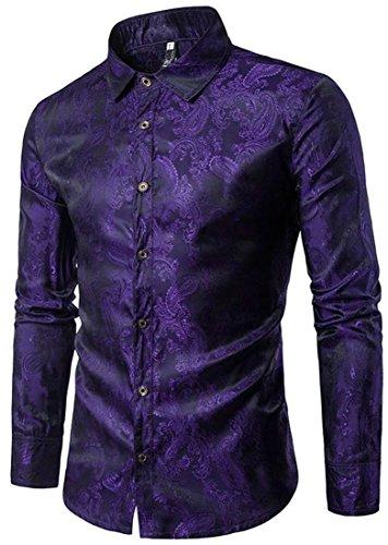 Cromoncent Men's Slim Fit Vintage Floral Long Sleeve Button Down Shirt Dark Purple (Floral Vintage Sport Shirt)