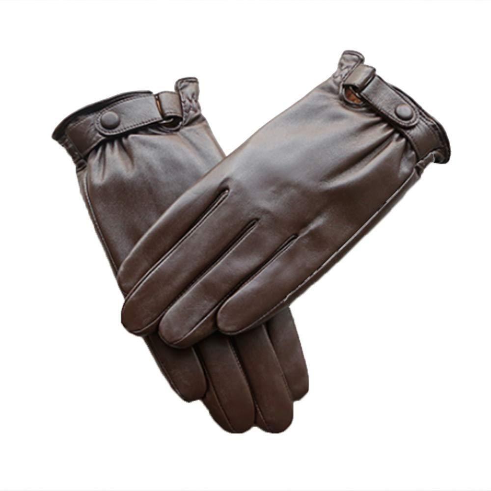 Qzp Lederhandschuhe Für Männer Warme Lederhandschuhe Fürs Motorradfahren Sowie Samtige Dünne Touchscreen-Schaffellhandschuhe,Braun-S