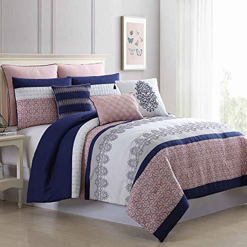 Amrapur Overseas 8-Piece Embroidered Serina Comforter Set Queen Pink/Navy