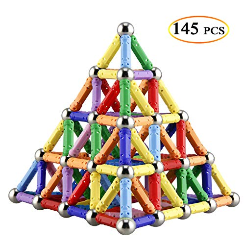145 Pieces Magnetic Building Sticks Building Blocks Set, Magnet Educational Toys Magnetic Blocks Sticks Stacking Toys Set For Kids and Adult, Non-Toxic Building Toy 3D Puzzle with Storage Bag