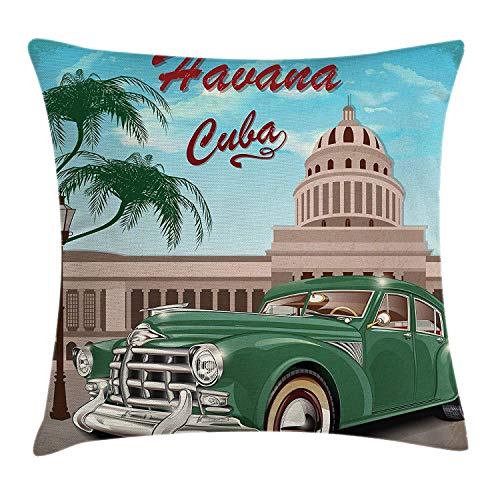 ZninesOnhOLD Havana Throw Pillow Cushion Cover, Retro Design of El Capitolio with Nostalgic Car Under Palm Tree, Decorative Square Accent Pillow Case, 18 X 18 Inches, Jade Green Pale Blue and Beige