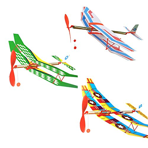 Zeroyoyo DIY Rubber Band Elastic Powered Wings Glider Flying Plane Aircraft Model Airplane Kids Toy Gift ()