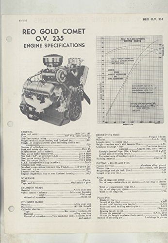 1957 Reo Gold Comet OV 235 Truck Engine Specifications Brochure (Truck Specifications Engine)