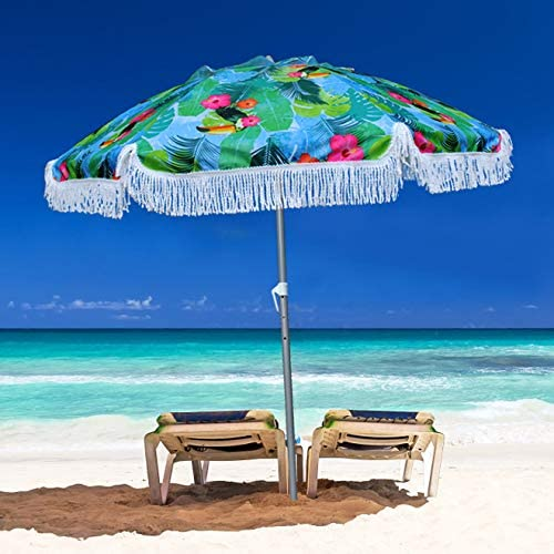 AMMSUN 6.5ft Outdoor Patio Beach Umbrella Sun Shelter with Fringe UV50 Sun Protection, Lightweight, Portable Easy,Perfect for Outdoor Beach, Camping, Sports, Pool,Gardens, Balcony and Patio