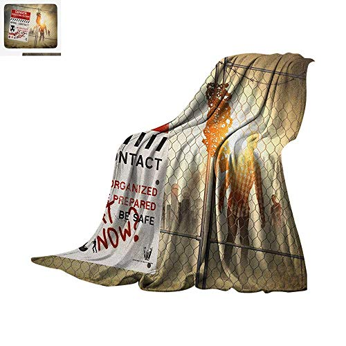 Zombie Throw Blanket Dead Man Walking in Dark Danger Scary Scene Fiction Halloween Infection Picture Warm Microfiber All Season Blanket for Bed or Couch 62