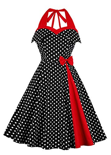 Nihsatin Women's Rockabilly 50s Vintage Polka Dots Halter Cocktail Swing Dress Black-red