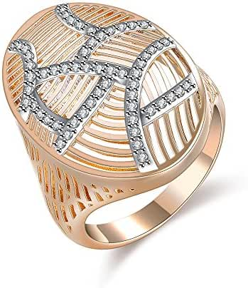 Mytys Gold Plated Fashion Hollow Stripe Crystal Oval Statement Rings