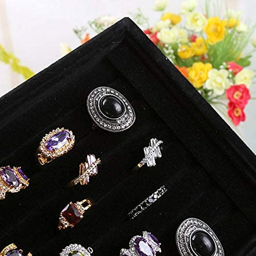 fghfhfgjdfj Velvet Ring Jewelry Tray Plate Earring Ear Stud Bracelet Ring Slot Showcase Display Stand Jewelry Storage Box Tray Case