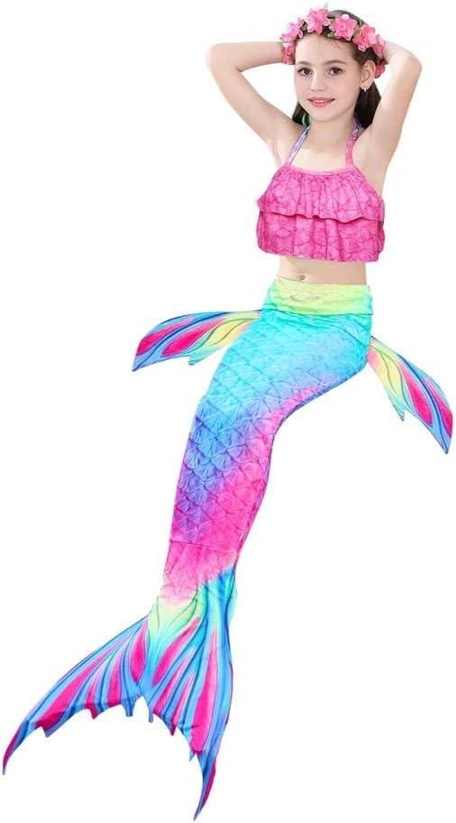 HUTUTU Costume da Bagno a Sirena Coda Bambina 4 Pezzi Bikini a Sirena Costume da Sirena Bambina con Monopinna