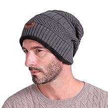 Gellwhu Men Soft Lined Thick Knit Skull Cap Warm Winter Slouchy Beanies Hat