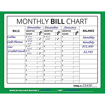 amazon com 16x12 monthly bill chart budget expense planner